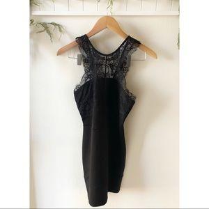 Topshop Little Black Dress Lace Neckline Size 4
